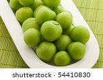 Green Plums In White Plate