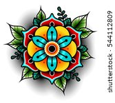 old school tattoo art flowers... | Shutterstock .eps vector #544112809