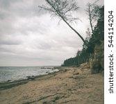 rocky autumn beach with waves... | Shutterstock . vector #544114204