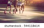 marathon runners running on... | Shutterstock . vector #544118614