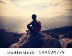 successful hiker on seaside... | Shutterstock . vector #544124779