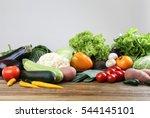 fresh vegetables on wooden... | Shutterstock . vector #544145101