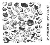 burger ingredients. hand drawn... | Shutterstock .eps vector #544145764