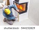 fireplace installing. fireplace ... | Shutterstock . vector #544152829