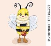 honey bee with honey | Shutterstock .eps vector #544161379