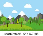 natural landscape in the flat... | Shutterstock .eps vector #544163701
