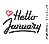 hello january. vector lettering. | Shutterstock .eps vector #544168645