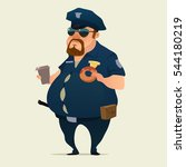 Police Officer With Donuts And...