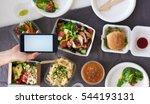 hands holding smartphone mobile ... | Shutterstock . vector #544193131