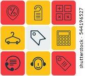 set of 9 e commerce icons.... | Shutterstock . vector #544196527
