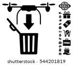 drone drop trash pictograph...