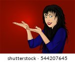 happy woman showing a gesture...   Shutterstock .eps vector #544207645