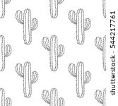 mexican cactus seamless pattern ... | Shutterstock . vector #544217761