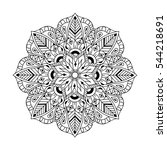 zentangle mandala in doodle... | Shutterstock . vector #544218691