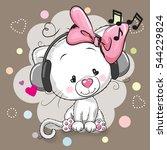 cute cartoon white kitten girl... | Shutterstock .eps vector #544229824
