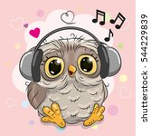 cute cartoon owl with... | Shutterstock .eps vector #544229839