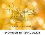 christmas present pop up out of ... | Shutterstock . vector #544230235