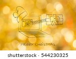 christmas present popping out... | Shutterstock . vector #544230325