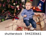 baby toys near the fireplace.... | Shutterstock . vector #544230661