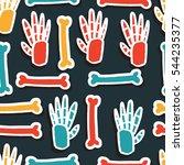 hand skeleton  bone sticker... | Shutterstock .eps vector #544235377