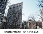New York City, Manhattan view with blue sky background - stock photo