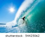 Surfer On Amazing Blue Wave In...