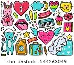 doodles cute elements. color... | Shutterstock .eps vector #544263049