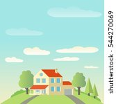a house between trees. global... | Shutterstock .eps vector #544270069