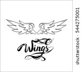 angel wings vector  lettering ... | Shutterstock .eps vector #544275001