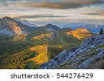 view over falzarego pass to... | Shutterstock . vector #544276429