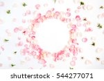Stock photo frame made of pink roses petals on white background flat lay top view valentine s background 544277071