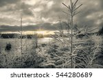 Sunrise In Winter Landscape...