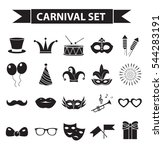 carnival icon set  black... | Shutterstock .eps vector #544283191