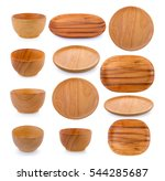 wood plate and bowl on white... | Shutterstock . vector #544285687