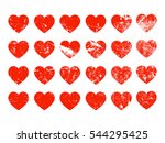 set of red distressed hearts in ... | Shutterstock .eps vector #544295425