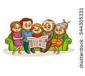family reading a newspaper... | Shutterstock .eps vector #544305331