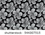 hand drawn painting of hibiscus ... | Shutterstock . vector #544307515