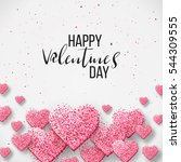 Happy valentine day festive sparkle layout template design. Glitter pink hearts on white background with frame, border. Lettering Valentine's day card vector Illustration. Be my valentine. | Shutterstock vector #544309555