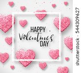 Stock vector happy valentine day festive sparkle layout template design glitter pink hearts on white background 544309627