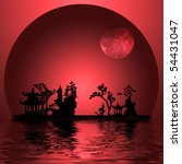 Asia Landscape with Moon - stock photo