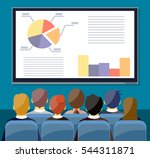 large tv screen with chart pie... | Shutterstock .eps vector #544311871