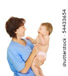 doctor holding small smiling... | Shutterstock . vector #54433654