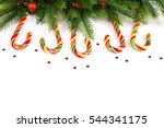 christmas tree branches with... | Shutterstock . vector #544341175