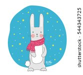 cute bunny. rabbit with scarf ... | Shutterstock .eps vector #544343725