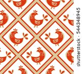 seamless pattern with chickens. ... | Shutterstock .eps vector #544348945