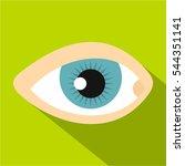 Blue Human Eye Icon. Flat...