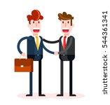 flat businessmen shaking hands... | Shutterstock .eps vector #544361341