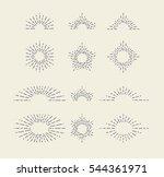 set of vintage sunbursts in... | Shutterstock .eps vector #544361971