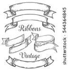 ribbon retro vintage hand drawn ... | Shutterstock . vector #544364845