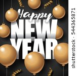 golden happy new year design... | Shutterstock . vector #544365871